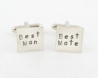 Best Man Cufflinks - Sterling Silver Best Mate Cuff Links - Wedding Gift for Men - Custom Hand Stamped Shirt Fasteners - Square Cufflinks