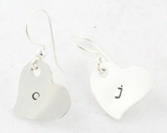 Mother's Day Gift for Mom or Grandma - Sterling Silver Dangle Heart Earrings -  Hand Stamped Custom Initial Ear Rings