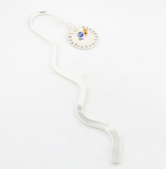 Teacher Bookmark - Christmas Gift - Custom Personalized Book Mark with Birthstones - Teach Love Inspire