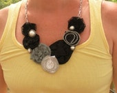 Black and White Rocker Chic Bib Necklace