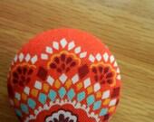 Badge Reel-Badge Holder-Retractable Reel ID Holder- Orange and turquoise Print Fabric