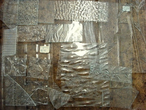 10 lbs TEXTURED CLEAR  Stained Glass Scrap- MED to LARGE pieces.