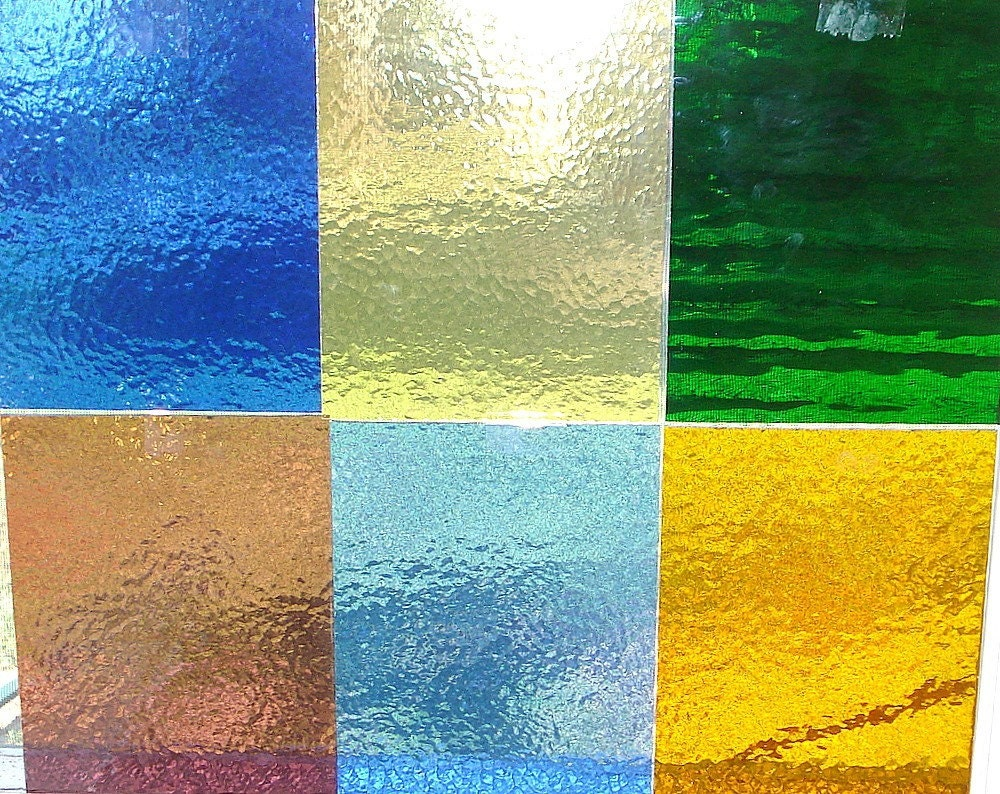 6 Large Sheets Of Colored Cathedral Glass 8 X 10 Inch Colored Glass Sheets
