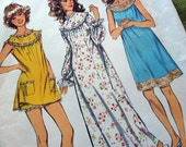 1970s Vintage Sewing Pattern - Simplicity 5030 - Misses' Nightgown in Three Lengths - Bloomers / Medium Size 12-14