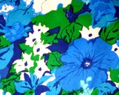 Vintage FLORAL Upholstery Fabric - Blues - Green
