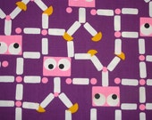 1970s Vintage Fabric - Purple People Eaters Yardage - Klopman Mills