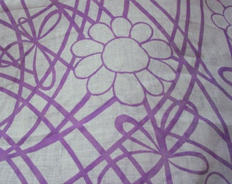 Vintage Sheer  FLORAL Yardage - Purple Lavender Spring Flowers