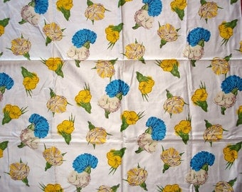 Vintage Cotton Yardage - Flowers in Blue and Yellow - Polished Cotton