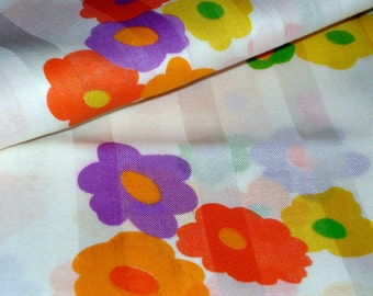 Vintage Cotton Yardage - Mod Floral Sheer with Damask Stripe