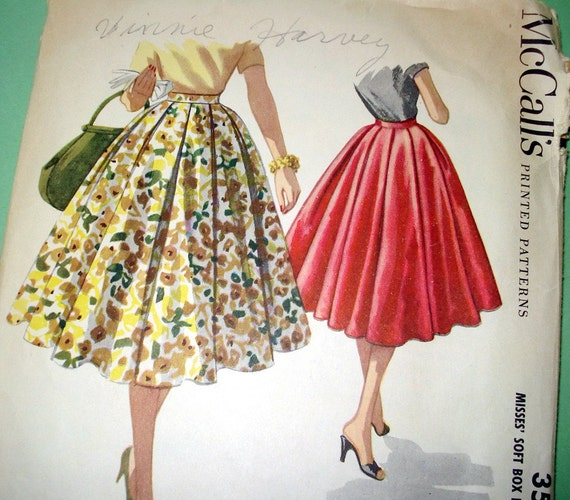 1950s vintage sewing pattern box pleated circle skirt