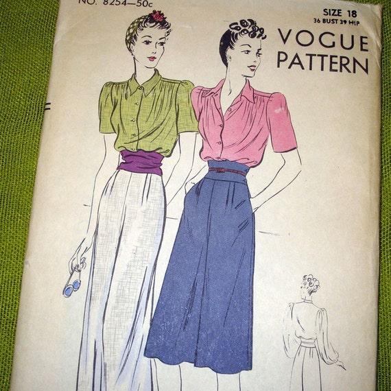 1940s Vintage Vogue Pattern 8254 - Bishop Sleeve Blouse - Slacks - Factory Folds