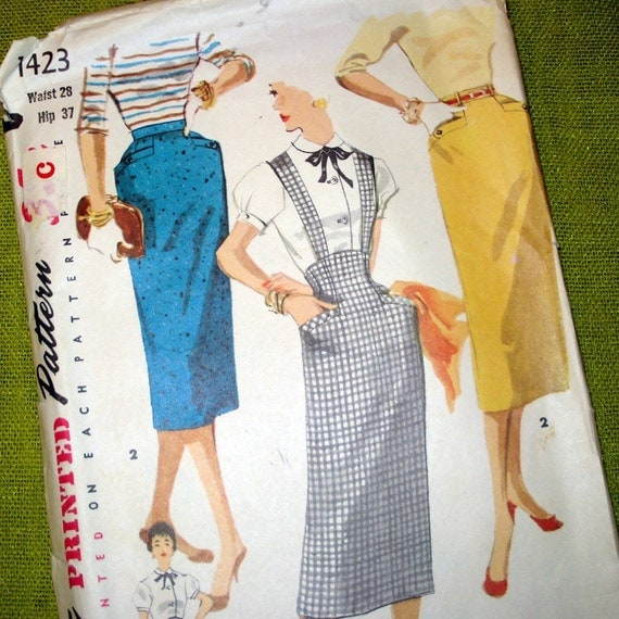 1950s vintage sewing pattern pencil skirt by selvedgeshop