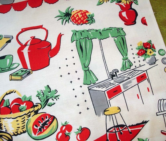 Retro Inspired Michael Miller Fabric Fifties Kitchen Cream