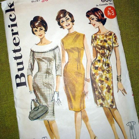 1960s Vintage Sewing Pattern Sheath Dress Mad Men - Butterick 2137 / Uncut  Size 14