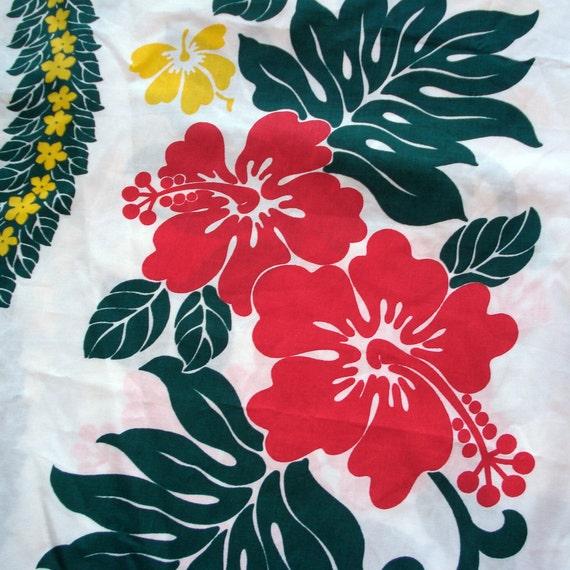 Vintage Screen Print Fabric - TIKI - Hibiscus Flowers - Large Print - Cotton - Tropical