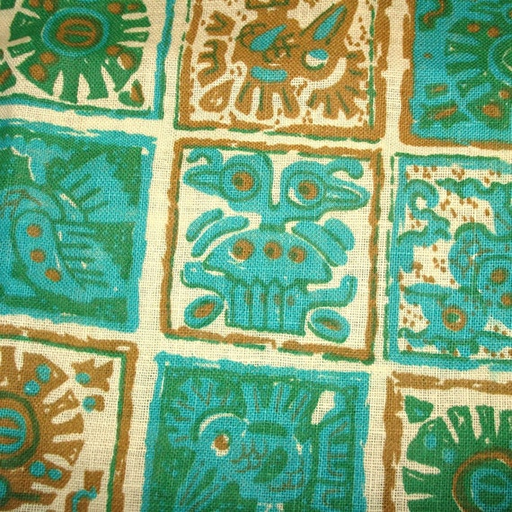 Vintage Cotton Fabric - Mexican Print - Yardage
