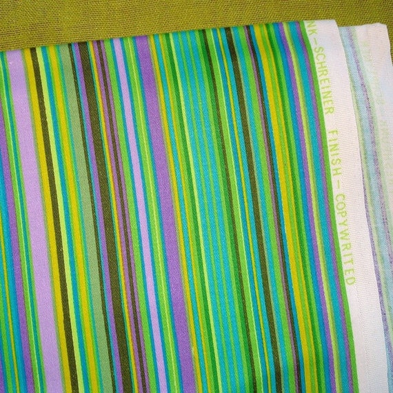 Vintage Cotton Fabric - STRIPES - Lime - Puple - Teal - Very Striking