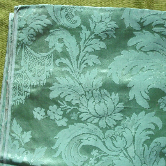 Vintage Damask Upholstery Fabric Sage Green By Selvedgeshop