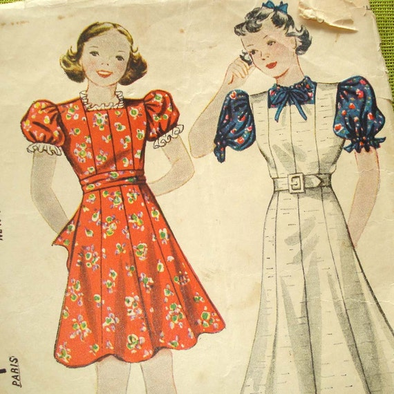 1930s Vintage Sewing Pattern - Girls Dress - Jumper - Blouse - Simplicity 2420 - Size 6