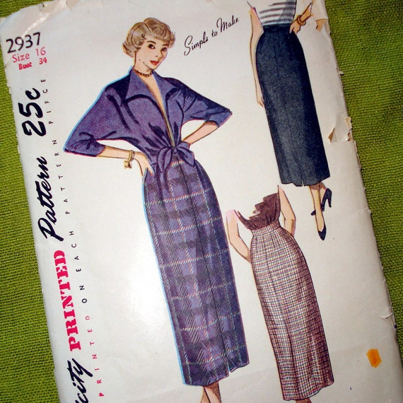 Late 1940s Vintage Sewing Pattern -  Slim Skirt - Tie-Front Shirt - Simplicity 2937