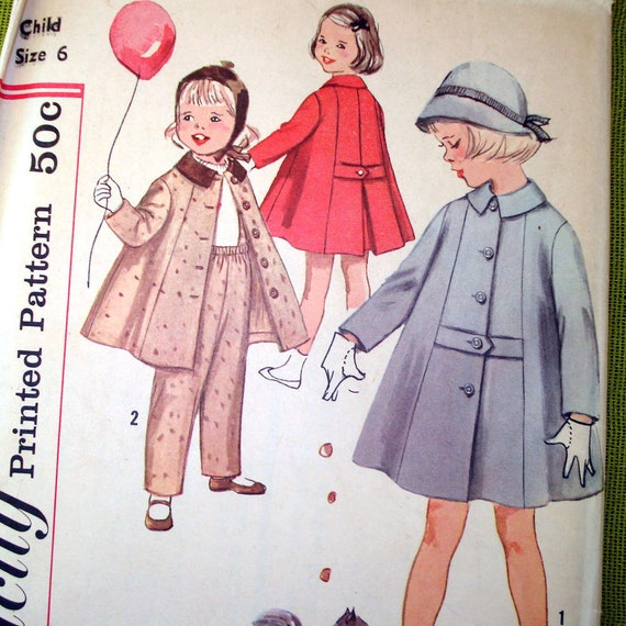 1958 Vintage Sewing Pattern - Girls Coat and Pants - Simplicity 2714- UNCUT FF