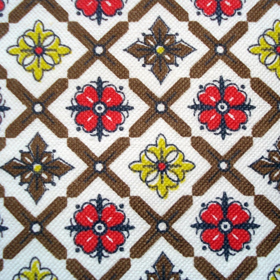 Vintage Cotton Fabric KITCHEN Print 1 Yard By SelvedgeShop
