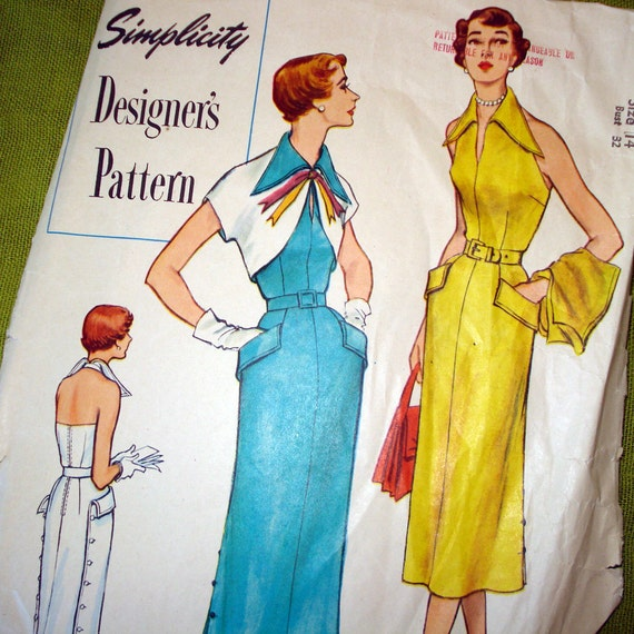 1949 Vintage Sewing Pattern - SImplicity Designer's Pattern 8263 - Sunback Dress - Bolero