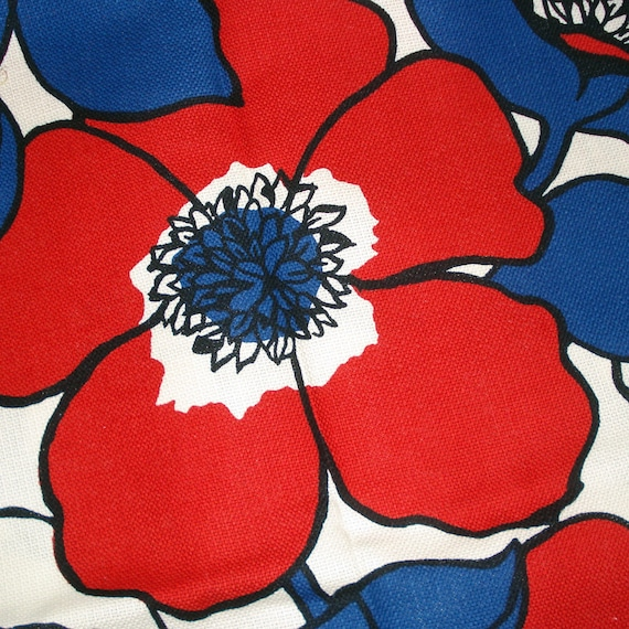 70s Mod Floral Upholstery Fabric Red White Blue Large