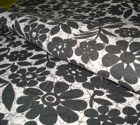 Vintage Cotton  Fabric - Black and White Floral Batik