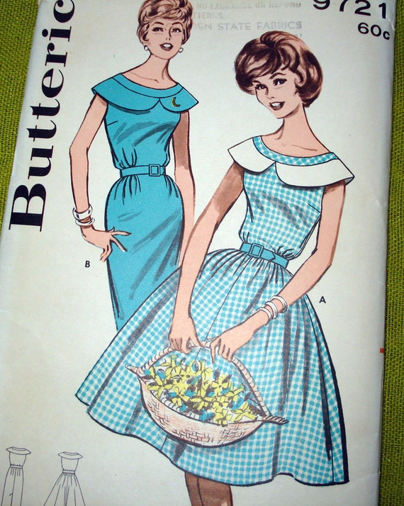 Early 1960s Vintage Sewing Pattern - DRESS - Butterick 9721