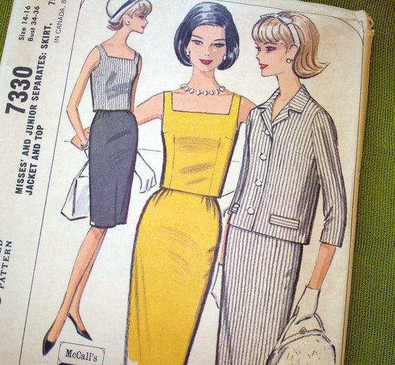 1960s Vintage Sewing Pattern - McCalls 7330 - Spectator Suit Pattern Slim Skirt Shell and Jacket