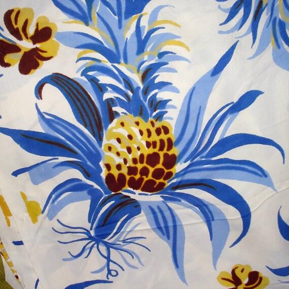 Vintage '40s Slinky Rayon Fabric - Tropical - Hawaiian Print - Tiki - Pineapple - 3 yards