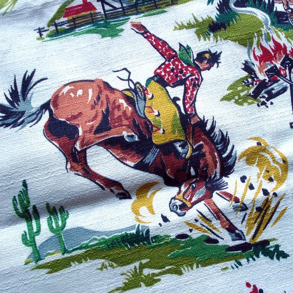 1950s Vintage Barkcloth Fabric Western Cowboy Print Rodeo