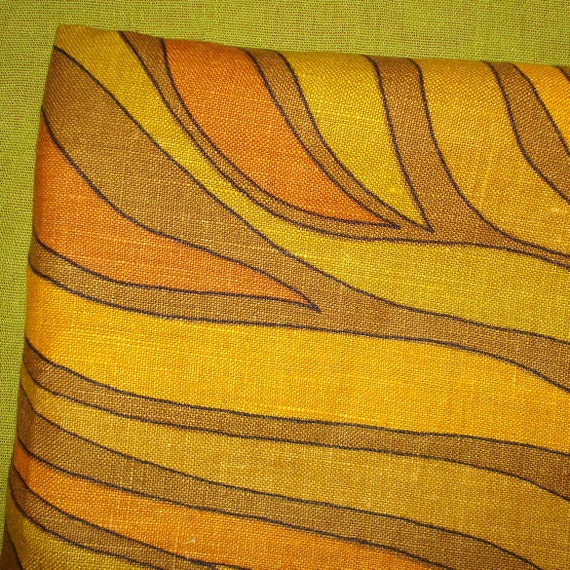 Fabulous Vintage Mid-Century Upholstery Fabric - Modernist - Orange and Golds - Abstract Pattern - Linen