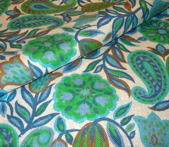Fabulous Vintage LINEN Mid-Century Upholstery Fabric - Sixties Floral and Paisley Print in Blues and Greens