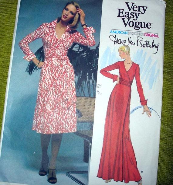 1970s Vintage Vogue 1549 - Diane Von Furstenberg Wrap Dress French Cuffs - UNCUT FF