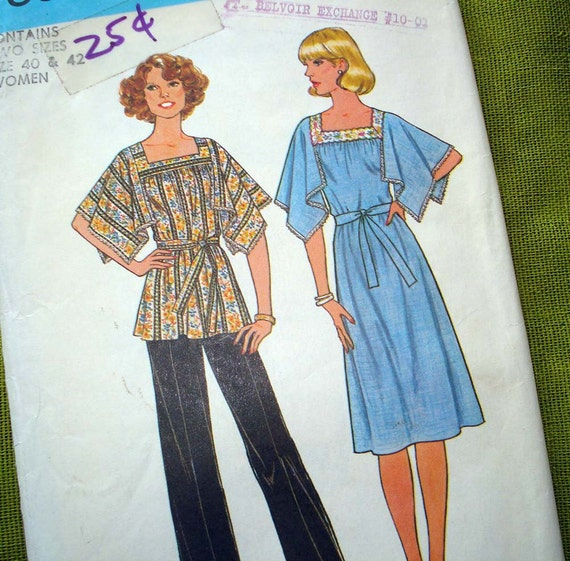 1970s Vintage Sewing Pattern - Hippy Boho Angel Sleeve Blouse and DRESS - Simplicity 7868