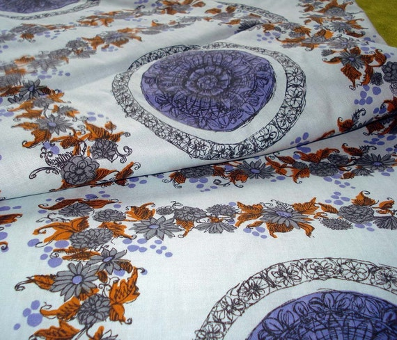Vintage Cotton Fabric - Floral in in Blues and Brown