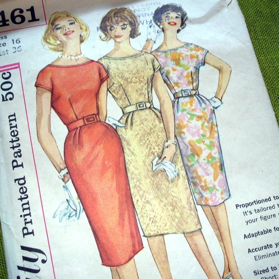 1960s Vintage Sewing Pattern - SIMPLICITY 3461 - Proportioned DRESS - Size 16