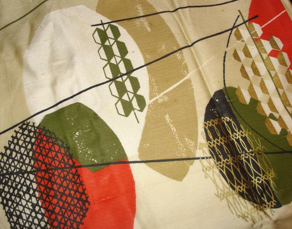 Mid Century Modern Fabric Atomic Design Metallic Eames