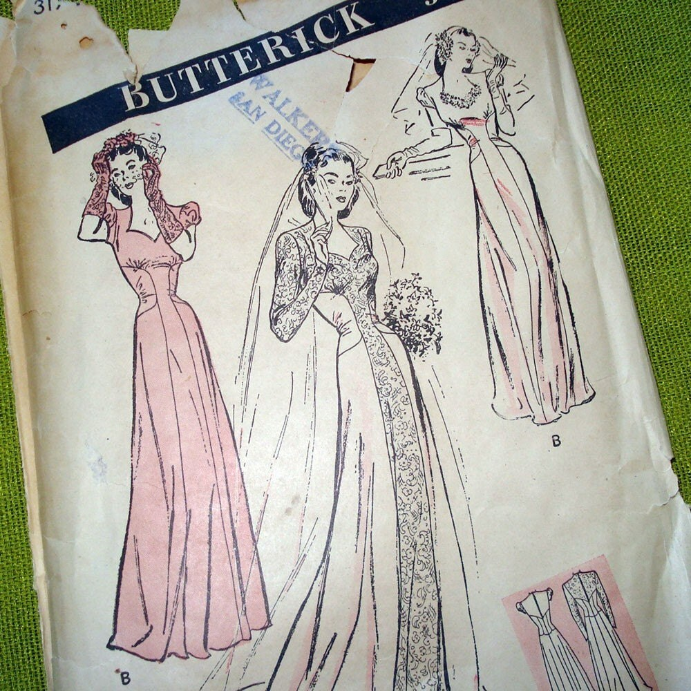 1940s vintage wedding dress pattern sweetheart neckline for Wedding dress patterns vintage