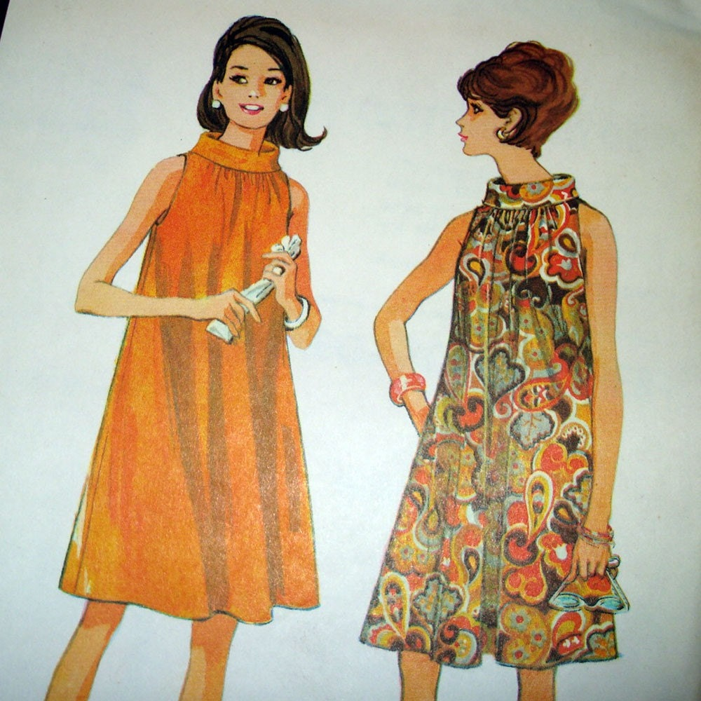 1960s Vintage Sewing Pattern Flared Trapeze Dress