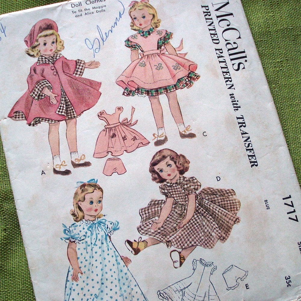 vintage sewing pattern doll clothes mccalls 1717 maggie