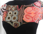 Aboriginal Print Knit Top, w Black Contrast, Sweetheart Bust, Boat Neck, Cap Sleeve, Orange, Red, Grey, White, One of a Kind, US size 8.