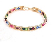Rainbow's End -  gold fill and Swarovski crystal wire wrapped bracelet