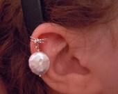 Non pierced sterling silver or gold fill coin pearl ear cuff