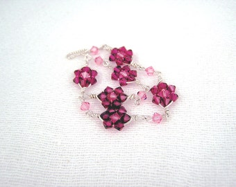 Endless flowers - sterling silver and Swarovski crystal wire wrapped bracelet