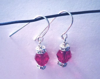 Sterling silver or gold fill crystal birthstone earring drops