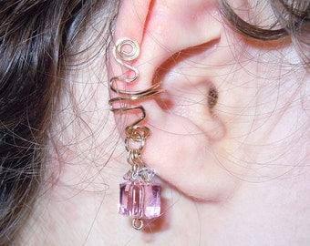 Gold fill pink Swarovski crystal nonpierced ear cuff, earring dangle, ear candy bling