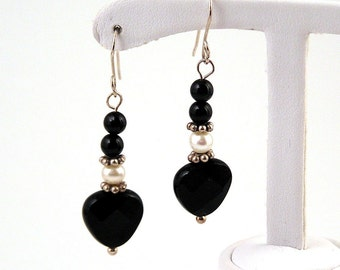 sterling silver, onyx and pearl black heart earrings